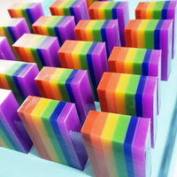 Rainbow Happy Soap handmade at Sunbasil Soap to make you smile and a great way to celebrate your pride