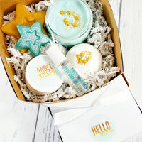 Hello Beautiful Spa Gift set boxed handmade gift for her brides mom wife Terry Mugler type scent at Sunbasil Soap