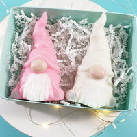 Christmas Gnomes Soap Gift Set : Pastel Pink and Winter White www.sunbasilsoap.com