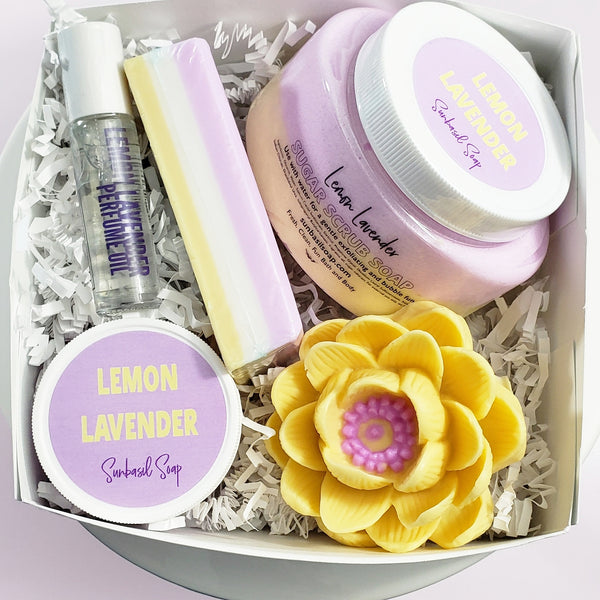 Lavender Lemon Lotus Flower Deluxe Bath Gift Set www.sunbasilsoap.com