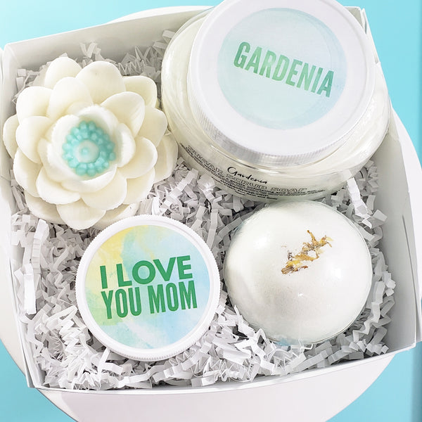 Gardenia Bath Gift Set for Mom www.sunbasilsoap.com