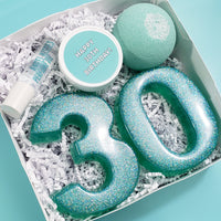 30th Birthday Spa Gift Box www.sunbasilsoap.com