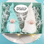 Christmas Gnome Soap Gift Box : Pastel Green and Winter White www.sunbasilsoap.com