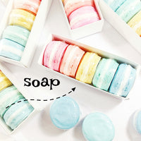 Rainbow soap gift set in colorful macaron shaped soaps by Sunbasilsoap.com