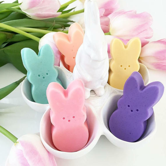 Pastel Easter Bunny Peep soaps by Sunbasilsoap.com for Easter basket gifts