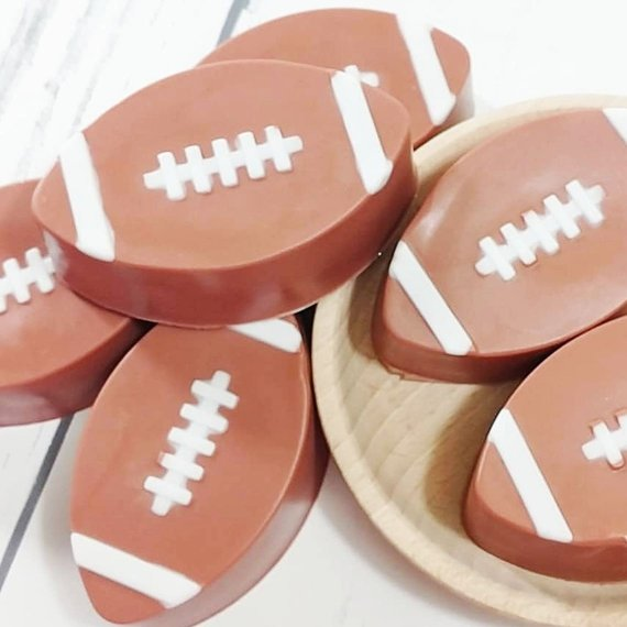 Football soap at Sunbasil Soap for football party favors