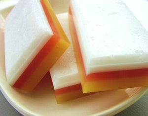 Handmade natural soap in candy corn by Sunbasil Soap