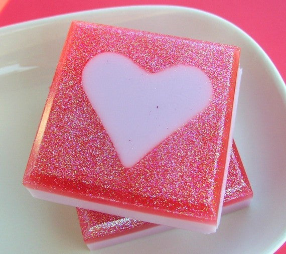 Love Heart pink sugar soap by Sunbasilsoap.com