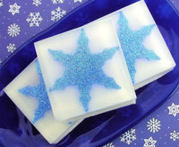 Blue handmade soap, our snowflake glycerin soap by Sunbasilsoap.com