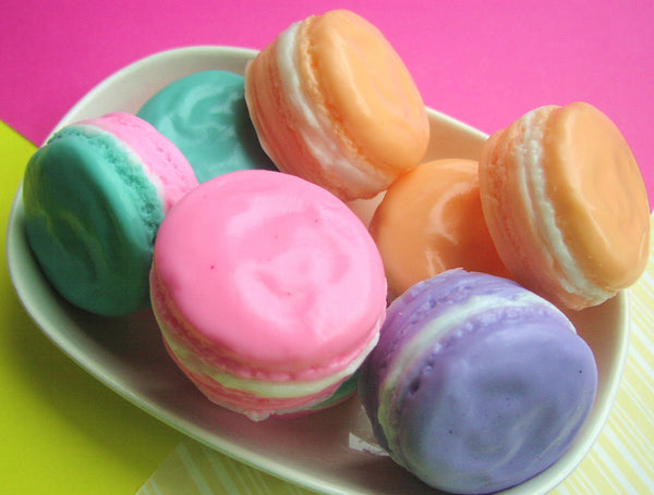 Peach MACARON Soap, French Macarons, Pastels, Birthday Favors - sunbasilgarden  - 2