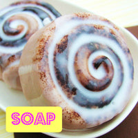 cinnamon bun soap that looks good enough to eat by sunbasilsoap.com