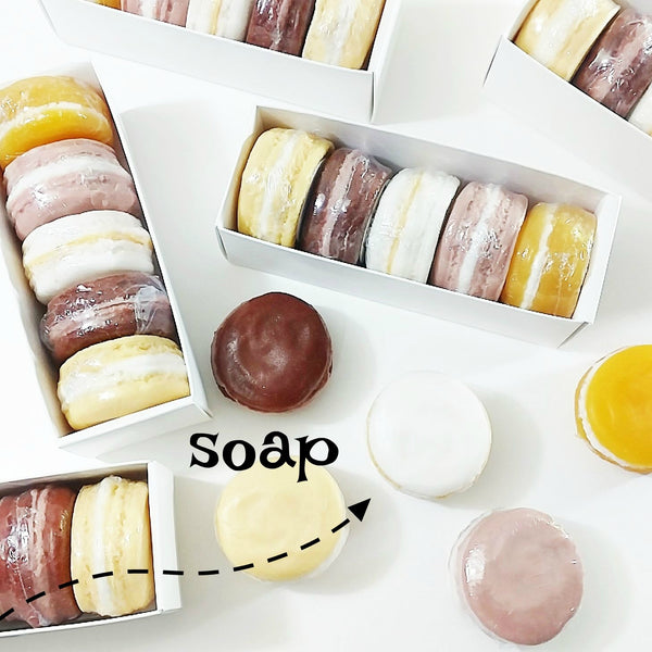 Cozy macaron soap gift set handmade soap by Sunbasilsoap.com