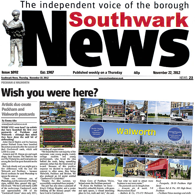 Southwark News November 22nd 2012 New Postcards Feature