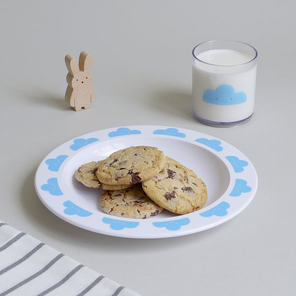 Happy Clouds Plastic Plate Blue by Buddy and Bear