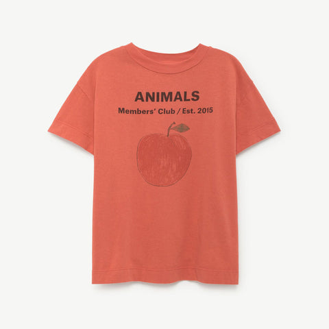 Rooster Kids T-Shirt Red Peach by The Animals Observatory