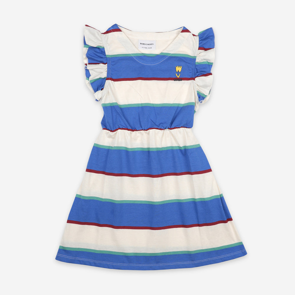 Load image into Gallery viewer, Stripes Jersey Ruffle Dress by Bobo Choses