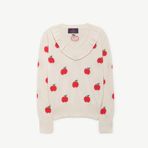 Horsefly Kids Sweater in Red Apples by The Animals Observatory