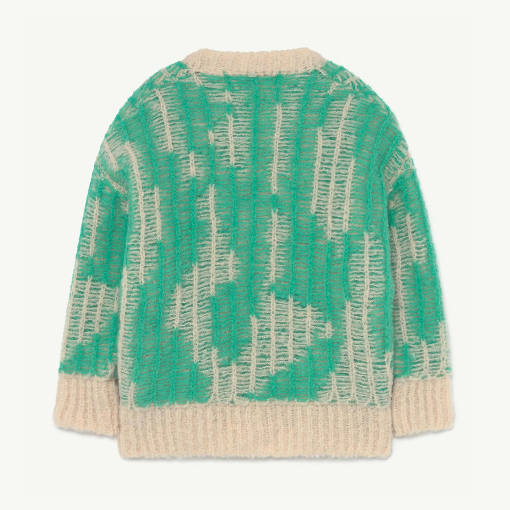 Arty Racoon Kids Cardigan in Green by The Animals Observatory