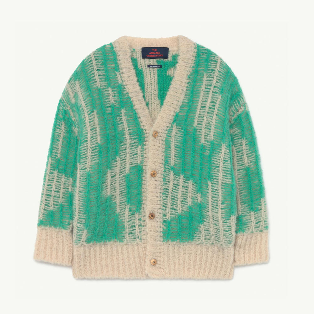 Load image into Gallery viewer, Arty Racoon Kids Cardigan in Green by The Animals Observatory
