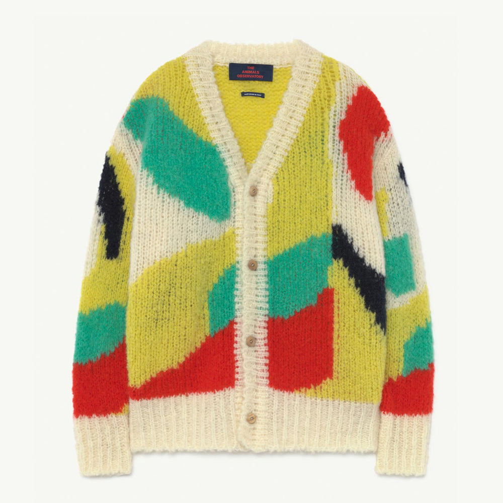 Arty Racoon Kids Cardigan Multicolor by The Animals Observatory