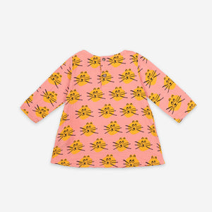 Cat All Over Long Sleeve Dress by Bobo Choses