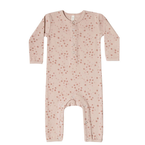 Ribbed Baby Jumpsuit in Rose by Quincy Mae