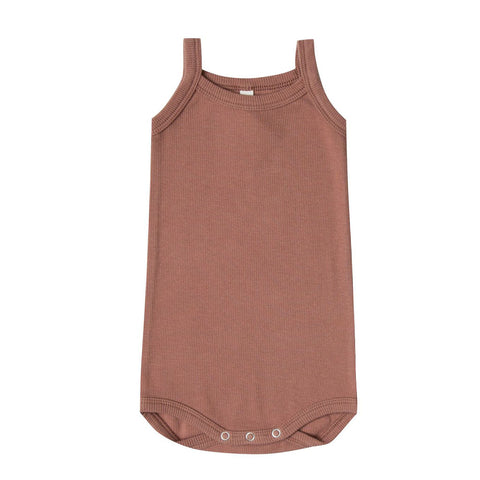 Ribbed Tank Onesie in Clay by Quincy Mae