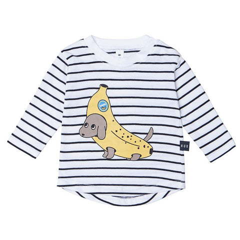 Banana Dog Stripe Long Sleeve by Huxbaby