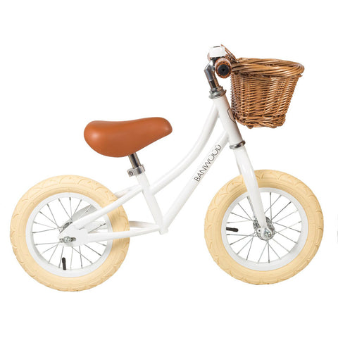 First Go! White Banwood Bike