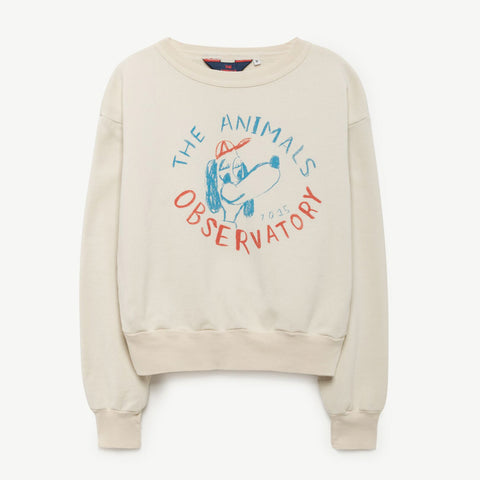 Bear Kids Sweatshirt in Raw White Dog by The Animals Observatory