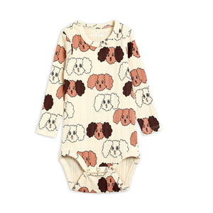 Beige Fluffy Dog Long Sleeve Bodysuit by Mini Rodini