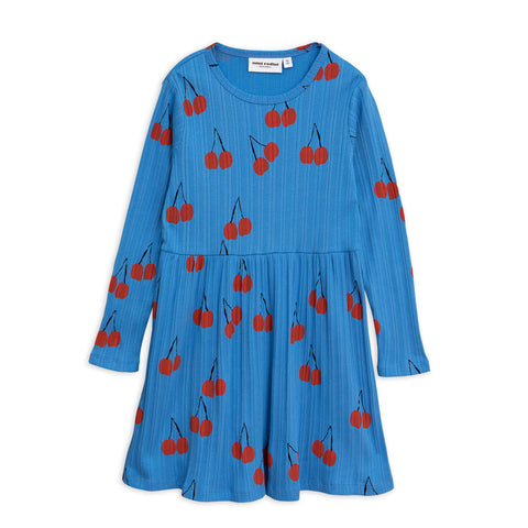 Cherry Long Sleeve Dress in Blue by Mini Rodini