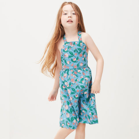 Blue Flowers Overall Dress by Oeuf