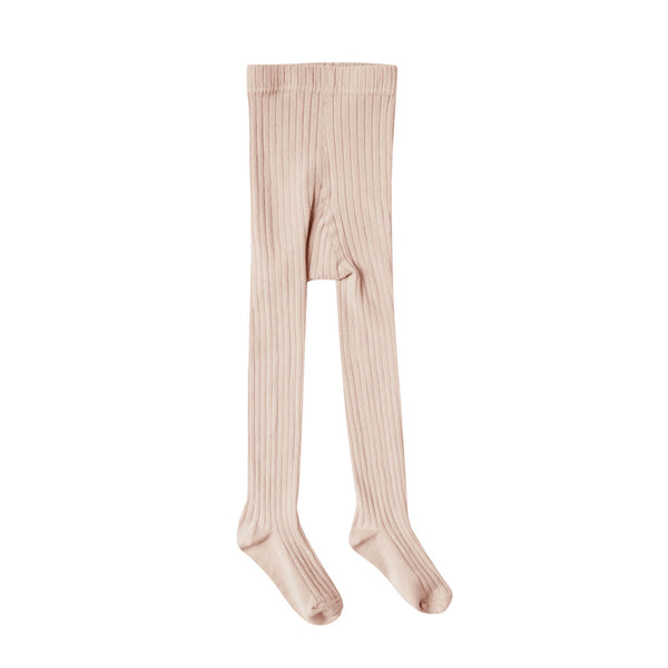 Blush Solid Ribbed Tights by Rylee and Cru