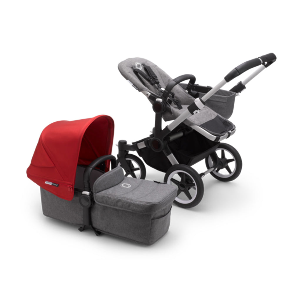 Load image into Gallery viewer, Bugaboo Donkey3 Complete Set- Aluminum / Grey Melange / Red