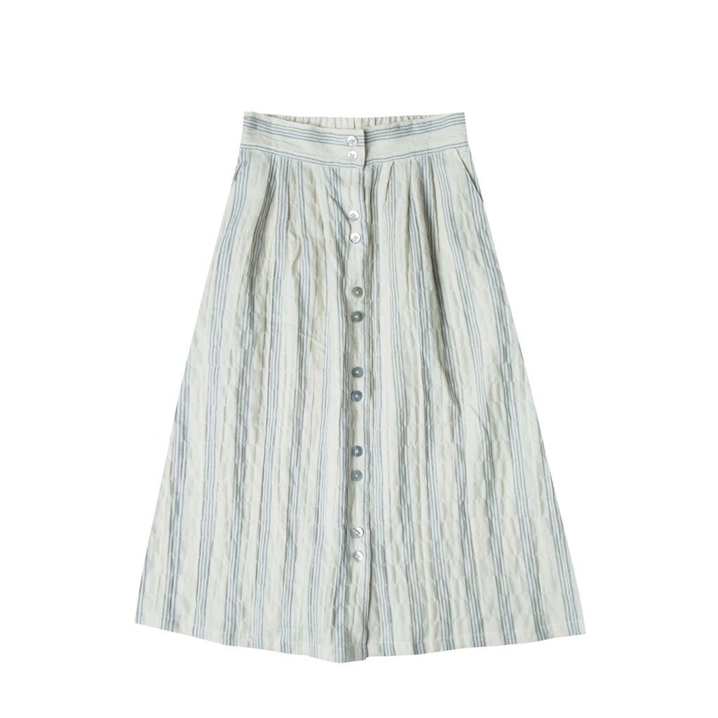Button Down Stripe Maxi Skirt by Rylee and Cru