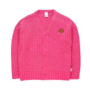 Chunky Knit Cardigan in Bubblegum by Tinycottons