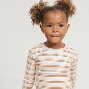 Oat / Cinnamon Striped Brushed Pajama Set by Rylee and Cru