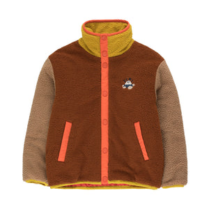 Color Block Polar Jacket in Sienna and Tan by Tinycottons