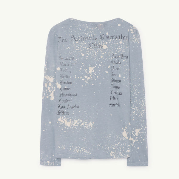 Deer Kids T-shirt in Blue Splashes by The Animals Observatory