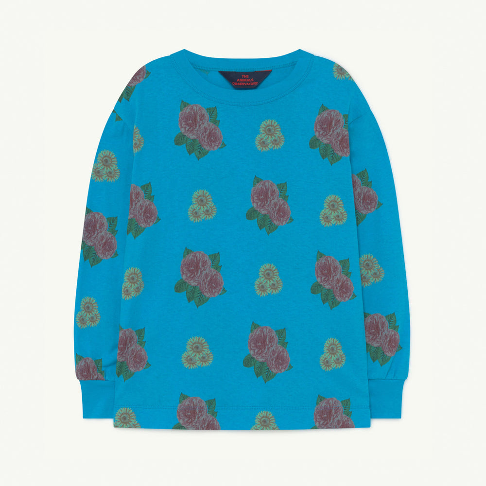 Dog Kids Long Sleeve Tee in Blue Flowers by The Animals Observatory