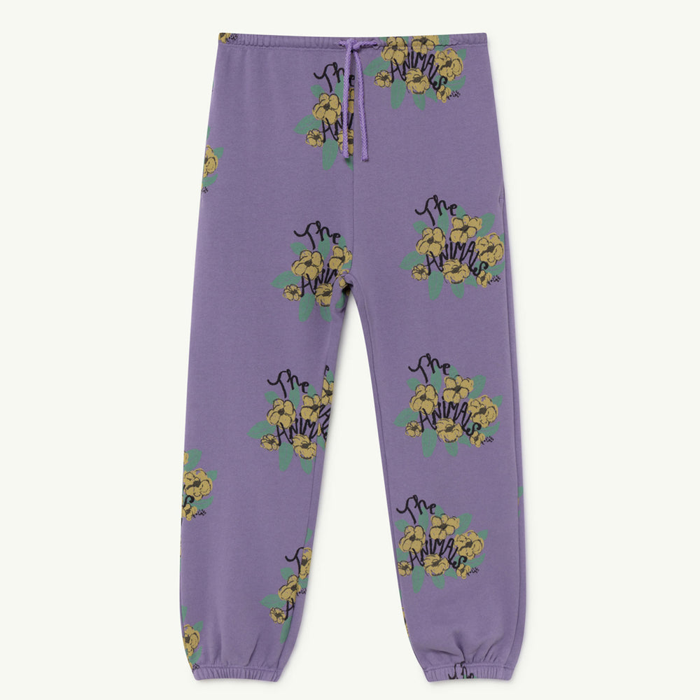 Dromedary Kids Trousers in Purple Flowers by The Animals Observatory