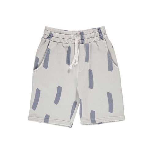 Elephant Grey Drawstring Long Shorts in Paintbrush Pattern by Beau Loves