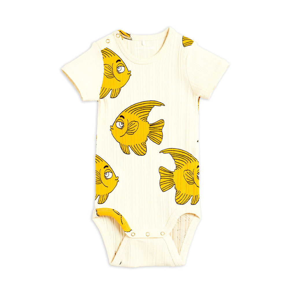 Fish Short Sleeve Bodysuit by Mini Rodini