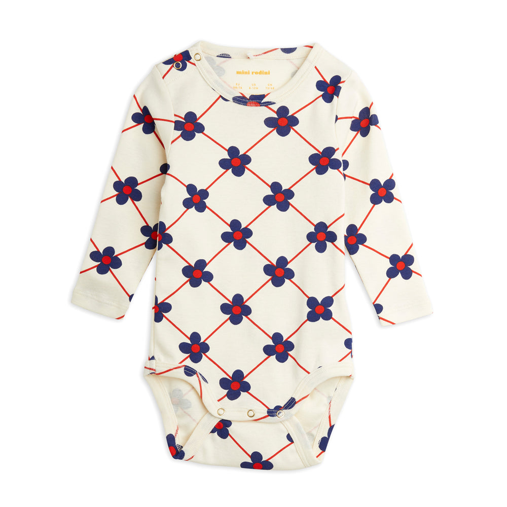 Flower Check Long Sleeve Bodysuit by Mini Rodini