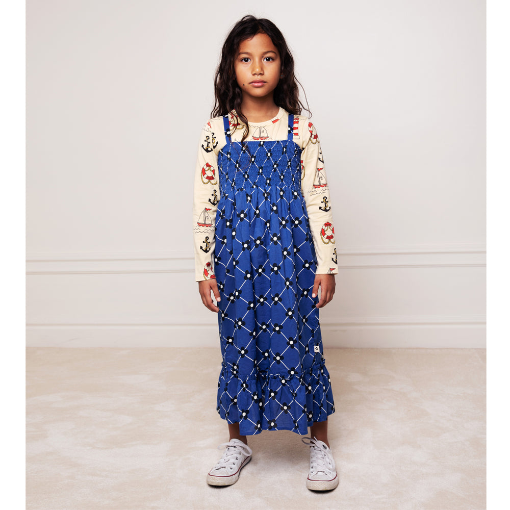 Flower Check Woven Smock Dress by Mini Rodini