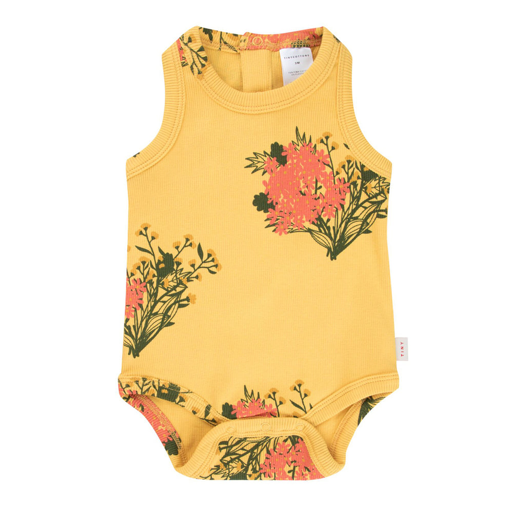 Flowers Tank Bodysuit by Tinycottons