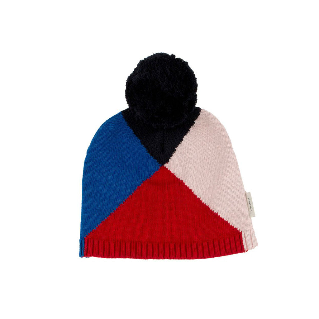 Geometric Beanie in Blue and Red by Tinycottons