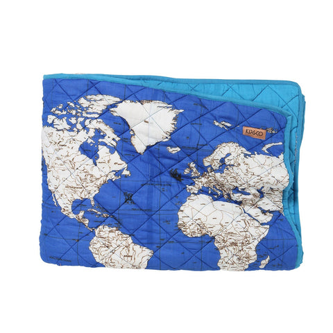 Globe Trotter Ocean Quilted Full / Queen Comforter by Kip and Co