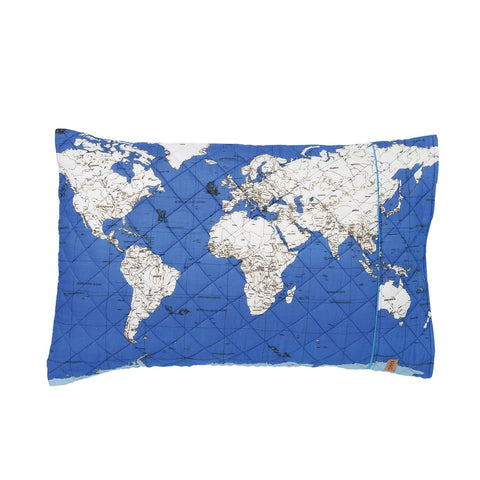 Globe Trotter Ocean Quilted Pillowcase by Kip and Co